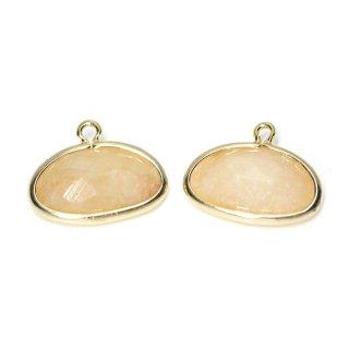 【2個入り】1点もの!ライトピーチカラー翡翠(Jade)楕円形ゴールドチャーム、パーツ