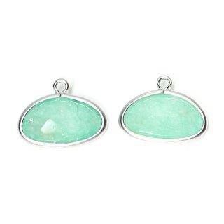 【2個入り】1点もの!翡翠(Jade)楕円形マッドシルバーチャーム、パーツ