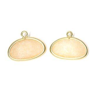 【2個入り】1点もの!ライトピーチカラー翡翠(Jade)楕円形マッドゴールドチャーム、パーツ