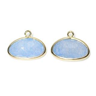 【2個入り】1点もの!ライトブルーカラー翡翠(Jade)楕円形ゴールドチャーム、パーツ