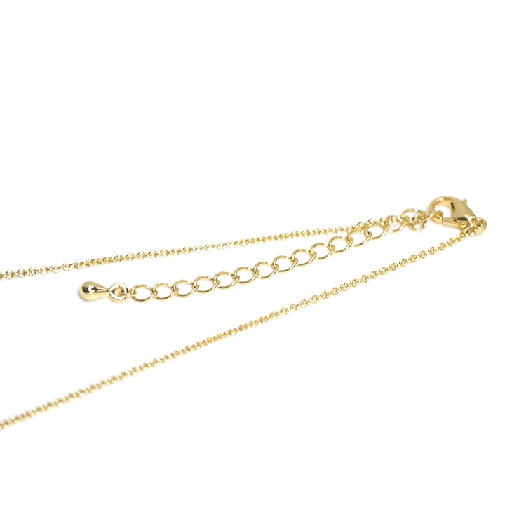 【5個入り】アジャスター付き留め具含め約46.2cm(厚み約1mm)ゴールドネックレスチェーン