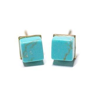 【2個(1ペア)】1点もの〜天然石PetitターコイズTurquoise風Cube四角形ゴールドシルバー925刻印ピアス