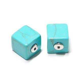 【2個(1ペア)】1点もの〜天然石Turquoise風Cube四角形シルバーピアスキャッチ