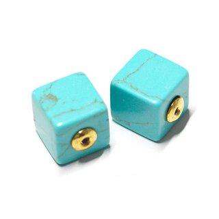 【2個(1ペア)】1点もの〜天然石Turquoise風Cube四角形ゴールドピアスキャッチ