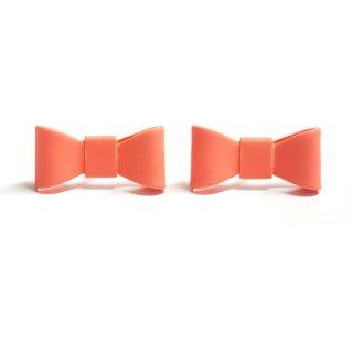 【2個(1ペア)】コーラルピンクCoral Pinkカラーリボンピアス