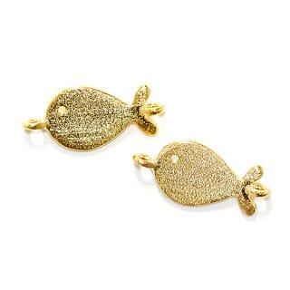 【2個入り】両カン付きCute Small Fish 魚モチーフの質感あるゴールドチャーム、パーツ