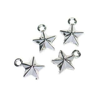 【4個入り】立体的なプチTwinkle Starスターモチーフの光沢シルバーチャーム、ペンダント