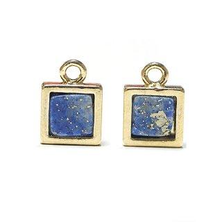 【1個】1点もの〜ラピスラズリ(lapis lazuli)正方形ゴールドチャーム