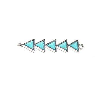 【1個】1点もの〜天然石ターコイズ(Turquoise)風3Dトライアングルシルバーコネクター