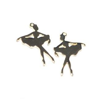 【3個入り】Ballerina Poseバレリーナポーズ・シルエットゴールドチャーム