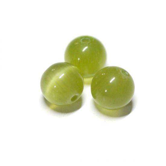 【10個入り】天然石キャッツアイ~olive Greenカラー6mm両穴ビーズ ハンドメイド材料 アクセサリーパーツ