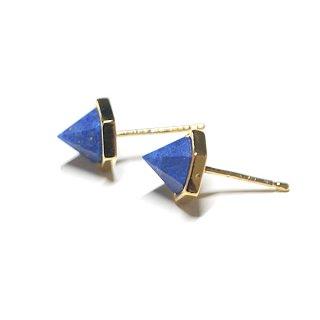 【2個(1ペア)】立体的な三角形〜天然石ラピスラズリ(lapis lazuli)ゴールド シルバー925芯ピアス
