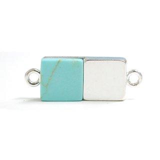 【1個】天然石ターコイズ(Turquoise)風四角形シルバーコネクター
