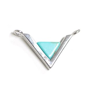 【1個】V字形〜天然石ターコイズ(Turquoise)風Smallサイズシルバーコネクター