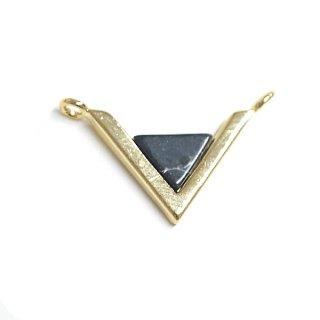 【1個】V字形〜天然石ソーダライト(Sodalite)風Smallサイズゴールドコネクター