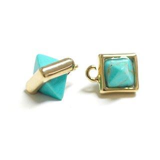 【1個】天然石ターコイズ(Turquoise)風3DプチピラミッドPyramid形ゴールドチャーム