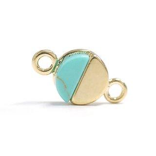 【2個入り】1点もの〜天然石ターコイズ(Turquoise)風プチ円形ゴールドコネクター