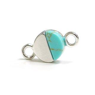 【2個入り】1点もの〜天然石ターコイズ(Turquoise)風プチ円形シルバーコネクター