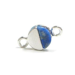 【2個入り】1点もの〜天然石ラピスラズリ(lapis lazuli)プチ円形シルバーコネクター