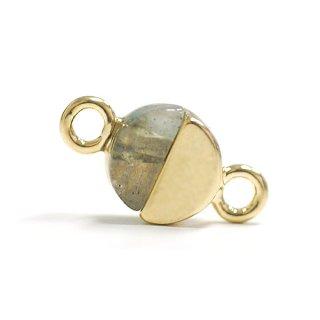 【2個入り】1点もの〜天然石ラブラドライト(Labradrite)プチ円形ゴールドコネクター