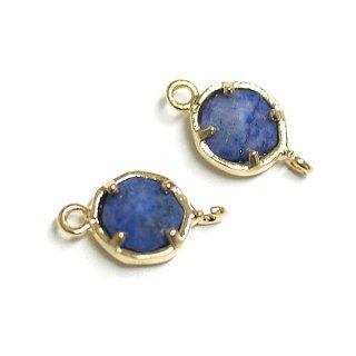 【2個入り】ラピスラズリ(lapis lazuli)天然石3Dプチヘキサゴンモチーフゴールドコネクター