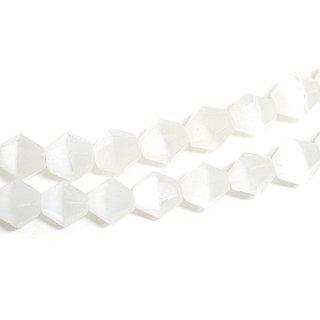 【15個入り】天然石キャッツアイ〜Diamondカットホワイトカラー4mmビーズ|ハンドメイド材料|アクセサリーパーツ