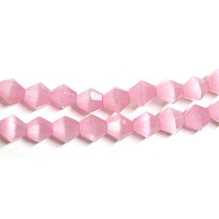 【15個入り】天然石キャッツアイ〜Diamondカットライトピンクカラー4mmビーズ|ハンドメイド材料|アクセサリーパーツ