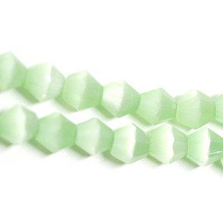 【15個入り】天然石キャッツアイ〜Diamondカットライトミントカラー4mmビーズ|ハンドメイド材料|アクセサリーパーツ