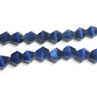 【15個入り】天然石キャッツアイ〜Diamondカットロイヤルブルーカラー4mmビーズ|ハンドメイド材料|アクセサリーパーツ