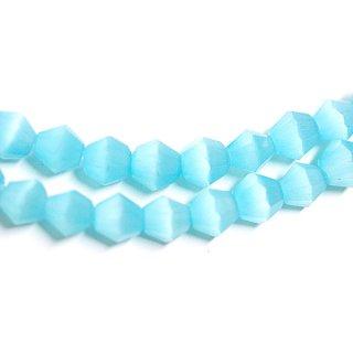【15個入り】天然石キャッツアイ〜Diamondカットライトブルーカラー4mmビーズ|ハンドメイド材料|アクセサリーパーツ