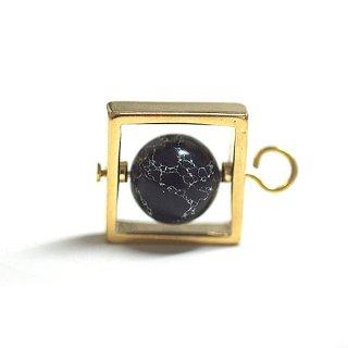【1個】宇宙〜天然石ソーダライト(Sodalite)風Square Earth Ballゴールドチャーム