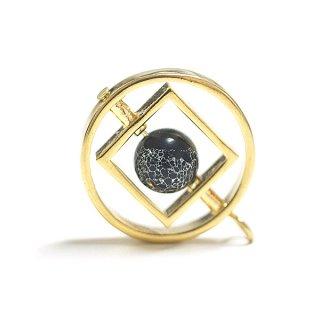 【1個】宇宙〜天然石ソーダライト(Sodalite)風Circle&Square Earth Ballゴールドチャーム