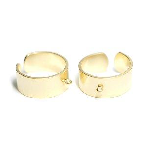 【1個】カン付き約8mmマットゴールドフリーサイズ指輪、リング製作パーツ