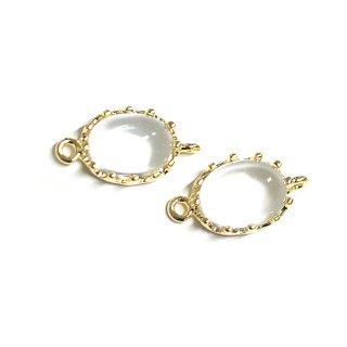 【2個入り】楕円形Clearクリア・ホワイトカラーGlassガラスゴールドコネクター、チャーム|アクセサリーパーツ