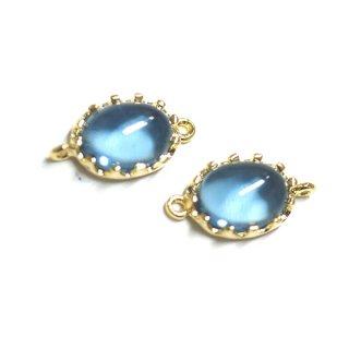 【2個入り】楕円形Royal BlueロイヤルブルーカラーGlassガラスゴールドコネクター、チャーム|アクセサリーパーツ