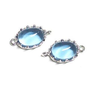 【2個入り】楕円形Royal BlueロイヤルブルーカラーGlassガラスシルバーコネクター、チャーム|アクセサリーパーツ