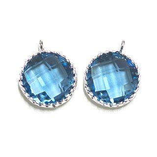 【2個入り】円形Royal BlueロイヤルブルーカラーGlassガラスシルバーチャーム、パーツ|アクセサリーパーツ