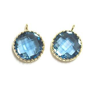 【2個入り】円形Royal BlueロイヤルブルーカラーGlassガラスゴールドチャーム、パーツ|アクセサリーパーツ