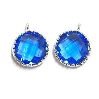 【2個入り】円形Cobalt BlueコバルトブルーカラーGlassガラスシルバーチャーム、パーツ|アクセサリーパーツ