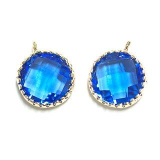 【2個入り】円形Cobalt BlueコバルトブルーカラーGlassガラスゴールドチャーム、パーツ|アクセサリーパーツ
