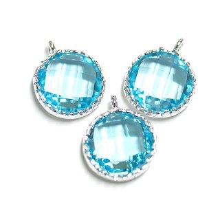 【2個入り】円形BluezirconブルージルコンカラーGlassガラスシルバーチャーム、パーツ|アクセサリーパーツ