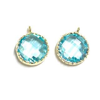 【2個入り】円形BluezirconブルージルコンカラーGlassガラスゴールドチャーム、パーツ|アクセサリーパーツ