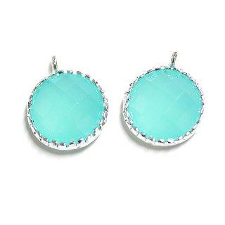 【2個入り】円形MintミントカラーGlassガラスシルバーチャーム、パーツ|アクセサリーパーツ