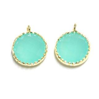 【2個入り】円形MintミントカラーGlassガラスゴールドチャーム、パーツ|アクセサリーパーツ