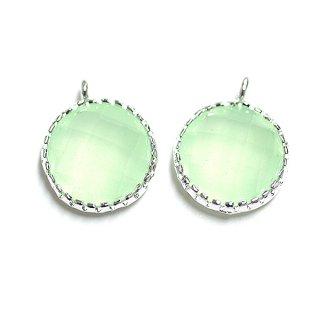 【2個入り】円形LIght MintライトミントカラーGlassガラスシルバーチャーム、パーツ|アクセサリーパーツ