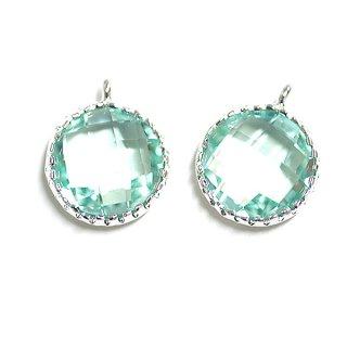 【2個入り】円形Mint GreenミントグリーンカラーGlassガラスシルバーチャーム、パーツ|アクセサリーパーツ