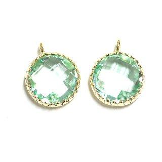 【2個入り】円形Mint GreenミントグリーンカラーGlassガラスゴールドチャーム、パーツ|アクセサリーパーツ