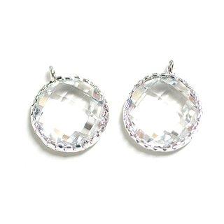 【2個入り】円形Clear WhiteクリアホワイトカラーGlassガラスシルバーチャーム、パーツ|アクセサリーパーツ