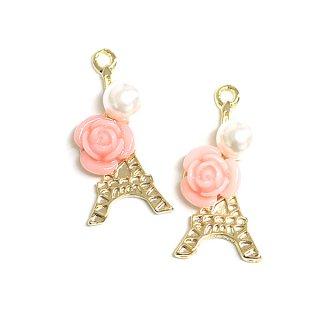 【2個入り】Paris~Pink Rose&La tour Eiffelピンクローズ&パール付きエッフェル塔ゴールドチャーム、パーツ