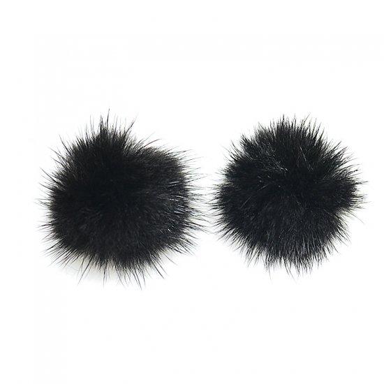 【2個入り】Real Mink Furブラックカラー3.5cm
